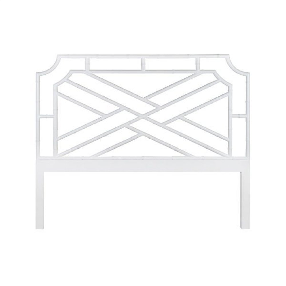 Chippendale Style King Bamboo Headboard In Matte White Lacquer