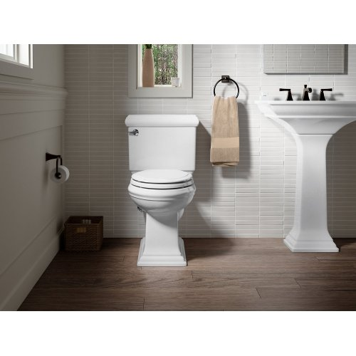 White Comfort Height Two-piece Elongated 1.28 Gpf Toilet With Aquapiston Flushing Technology and Left-hand Trip Lever, Seat Not Included