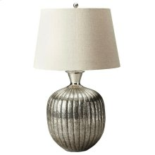 This distinctive table lamp will brilliantly light any space. Featuring an antique nickel finish, it is hand crafted from aluminum with an iron harp and linen shade.