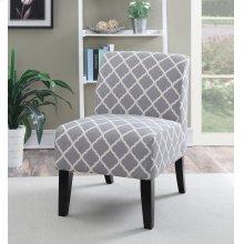 Parma Gray Quatrefoil Slipper Accent Chair