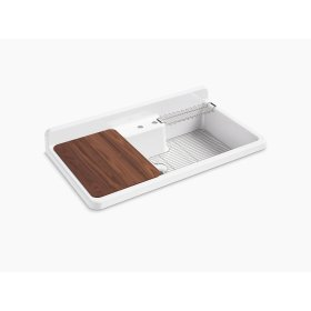 "White 45"" X 25"" X 9"" Top-mount/wall-mount Kitchen Sink With Two Faucet Holes, White Underside"
