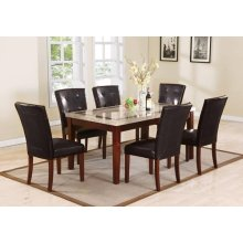 DINING TABLE WH MARBLE & BROWN