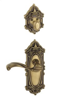 Grandeur - Single Cylinder Combo Pack Keyed Differently - Grande Victorian Plate with Portofino Lever and Matching Deadbolt in Vintage Brass