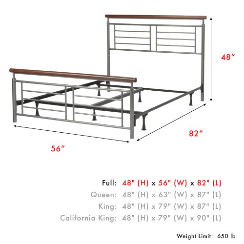 Fontane Complete Metal Bed and Steel Support Frame with Geometric Grills and Rounded Cherry Wood Color Top Rails, Silver Finish, Full