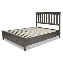 Hampton Complete Wood Storage Bed and Bedding Support System with (2) Footboard Drawers, Beachwood Gray Finish, Queen