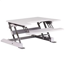 28.25''W White Sit / Stand Height Adjustable Desk with Height Lock Feature and Keyboard Tray