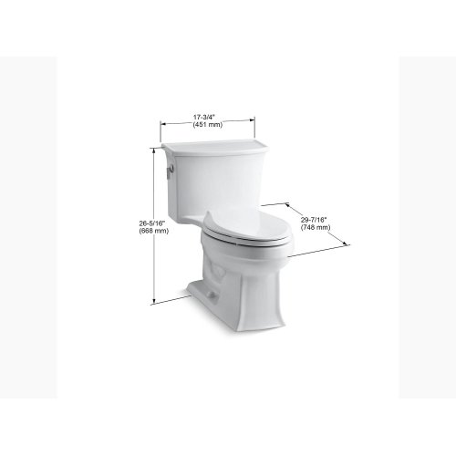 White One-piece Elongated 1.28 Gpf Toilet With Aquapiston Flush Technology and Left-hand Trip Lever