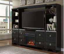 6 piece entertainment center with Faux Fireplace Insert and Audio Soundbar