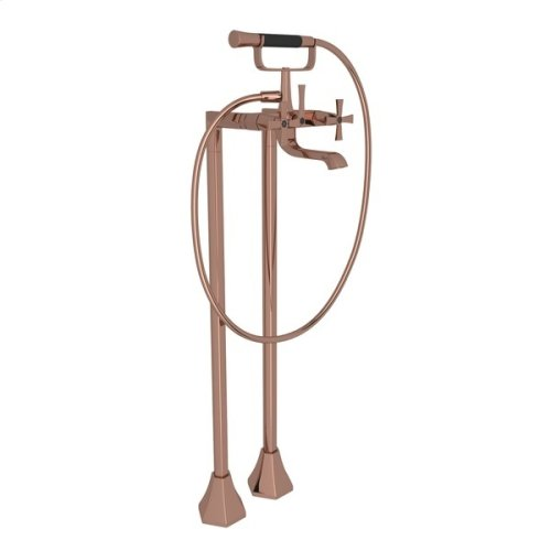 Rose Gold Bellia Exposed Floor Mount Tub Filler With Handshower And Floor Pillar Legs Or Supply Unions