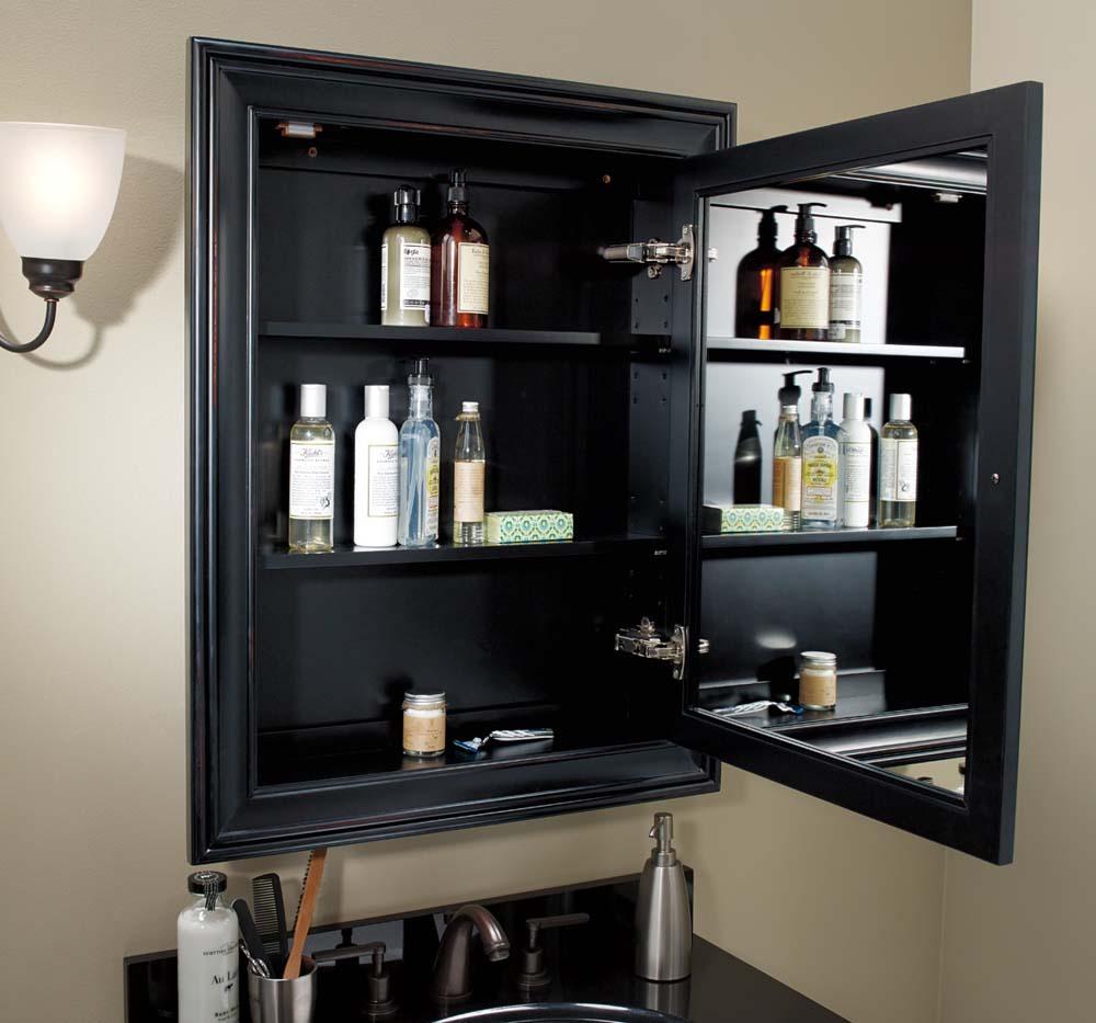 Traditional Solid Wood Framed Medicine Cabinet In Antique Black