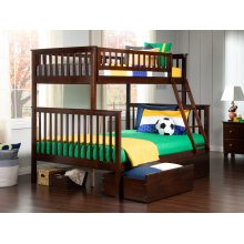 Woodland Bunk Bed Twin over Full with Urban Bed Drawers in Walnut