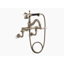 Vibrant Brushed Bronze Floor- or Wall-mount Faucet With Lever Handles, Diverter Spout, Polished Finish Accents and Handshower