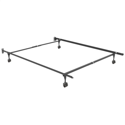 Sentry 78R Adjustable Bed Frame with Headboard Brackets and (4) 2-Inch Locking Rug Roller Legs, Twin / Full