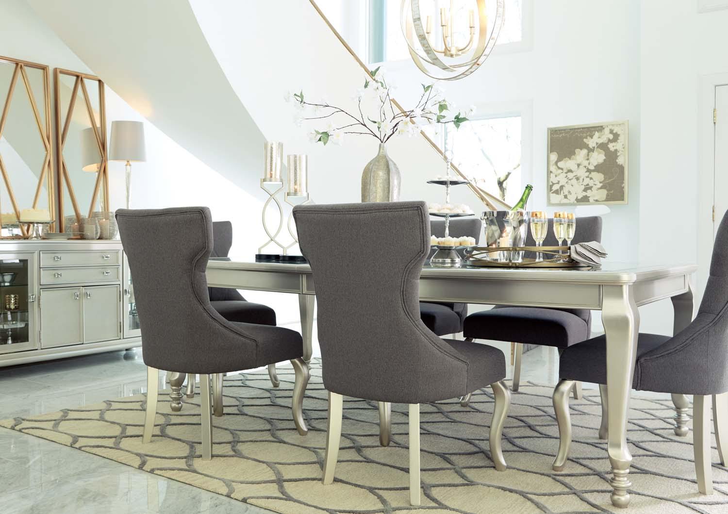 Hidden · Additional Coralayne   Silver Finish Set Of 2 Dining Room Chairs