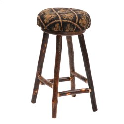 """Hickory Round Counter Stool with Upholstered Seat - 24"""" - Standard Fabric (Non-Swivel)"""