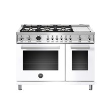 48 inch Dual Fuel Range, 6 Brass Burners and Griddle , Electric Self Clean Oven Bianco