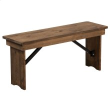 "40"" x 12"" Antique Rustic Solid Pine Folding Farm Bench"
