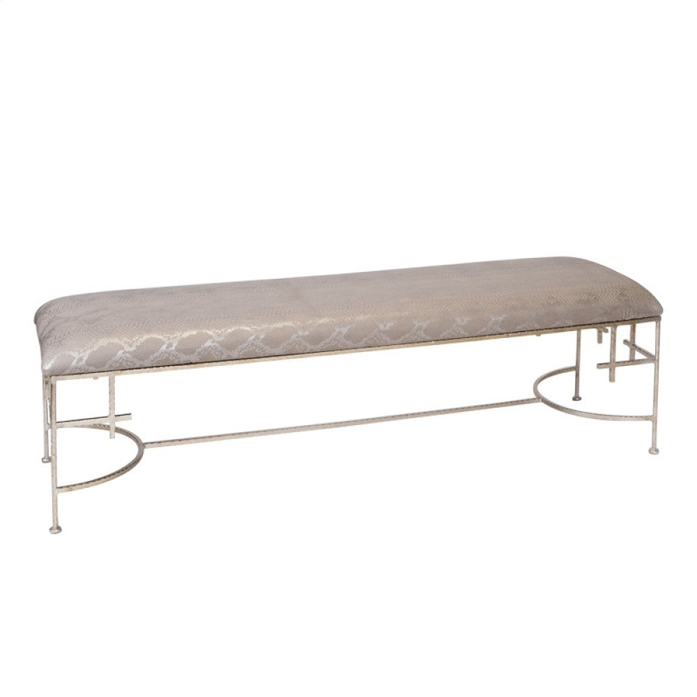 """60""""l Hammered Silver Leaf Bench W. Faux Snakeskin Upholstery"""