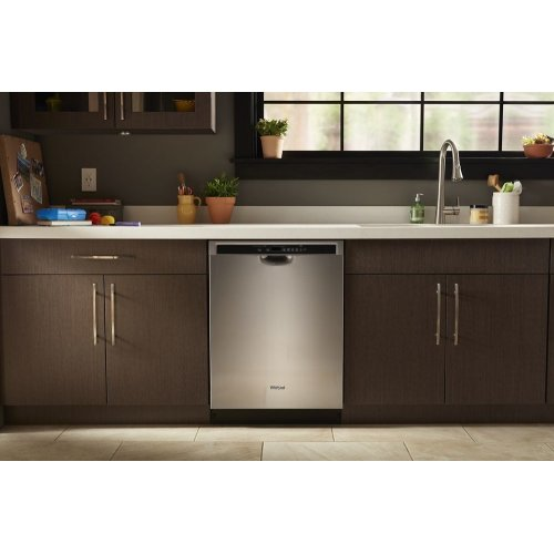 Stainless steel dishwasher with third level rack