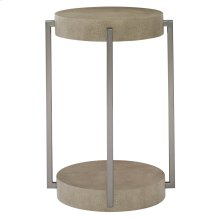 Mosaic Round End Table in Dark Taupe Shagreen (373)
