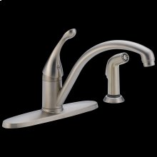 Stainless Single Handle Water-Efficient Kitchen Faucet with Spray