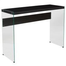 Espresso Finish Console Table with Shelves and Glass Frame