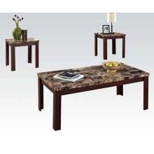 3PC PK C/E TABLES W/BR FAUX M