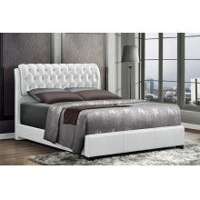 Barnes White Tufted Upholstered Queen Bed