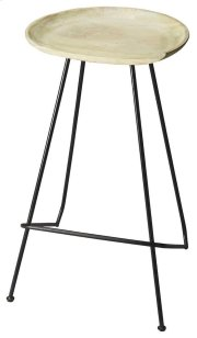 Suggesting a cup of cappucino with a creamy solid mango wood seat perched atop a strong black steel base and legs, this Bar Stool features clean lines and colors that work in virtually any décor. Product Image