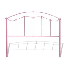 Amberley Fashion Kids Metal Headboard Panel with Elegant Curves and Floral Medallion Accents, Cotton Candy Pink Finish, Twin