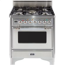"Antique White with Chrome Trim 30"" - 5 Burner Gas Range"