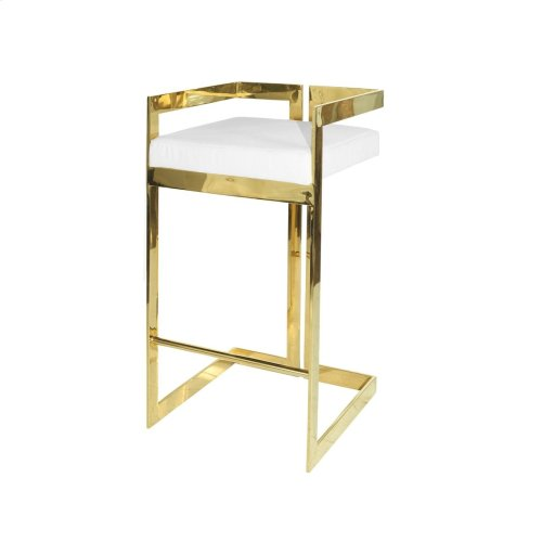 Linear Bar Stool With Brass Base and White Pu Leather Cushion