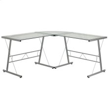 Glass L-Shape Computer Desk with Silver Metal Frame