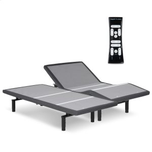 Leggett And PlattSimplicity 3.0 Low-Profile Adjustable Bed Base with Full Body Massage and Simultaneous Movement, Charcoal Gray Finish, Split King