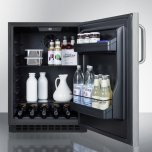 Summit Built-in Undercounter ADA Compliant All-refrigerator With Wrapped Stainless Steel Door, Towel Bar Handle, Black Cabinet, Door Storage, and Digital Controls