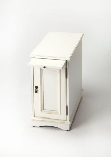 Designed to snuggle into a small space beside a favorite chair, this chairside chest provides a lot of convenience with pull-out tray for beverages and snacks and ample storage space behind the door with one adjustable shelf. Crafted from poplar hardwood