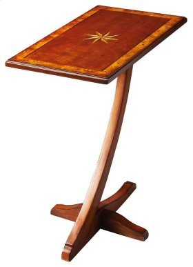 The Crawford accent table not only has an eye catching base, but also has one of the most beautiful inlayed wood designs as the top. The octagonal star medallion in the center is artistically complimented by the beautiful trim and the Olive Ash Burl finis