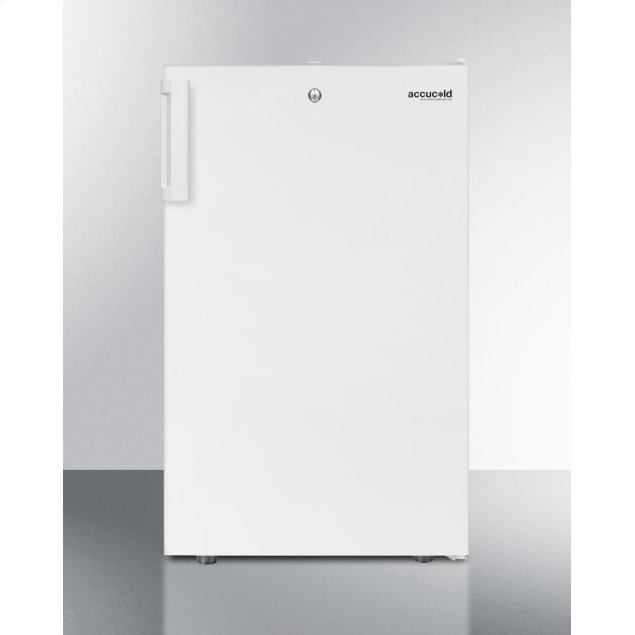 """Summit Commercially Listed 20"""" Wide Built-in Undercounter Refrigerator-freezer In White With A Lock"""
