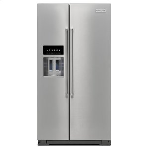 KitchenAid24.8 Cu. Ft. Standard Depth Side-by-Side Refrigerator with Exterior Ice and Water Stainless Steel