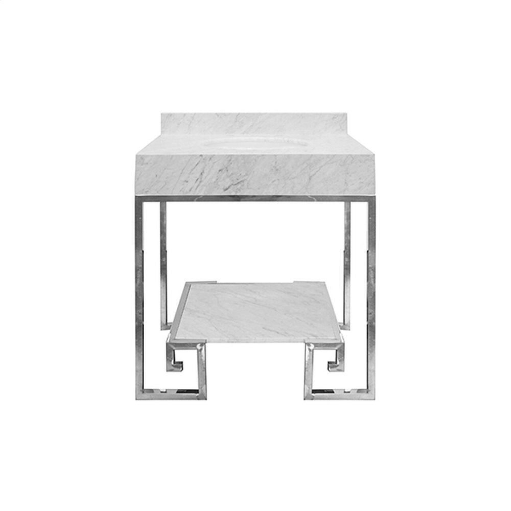 """Greek Key Nickel Base Bath Vanity With White Carrara Marble Top and Shelf - White Porcelain Sink Included - Optional White Carrara Marble Backsplash - for Use With 8"""" Widespread Faucet (not Included)"""