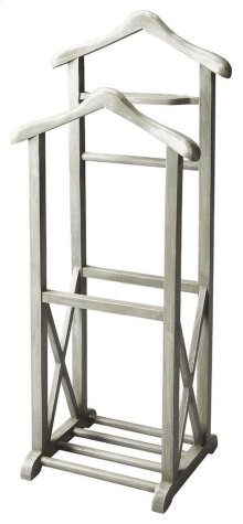 This Valet Stand, crafted from select solid woods and wood products, is as fashionable as it is functional in our Gray Dawn finish with the X-shaped lower side supports descending to the base anchored by four roads. It features a place to hang a coat, a s