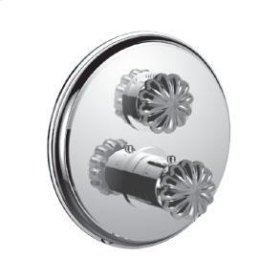 """1/2"""" Thermostatic Trim With Volume Control and 2-way Diverter in Unlacquered Brass"""