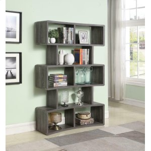CoasterWeathered Grey Wide Bookcase