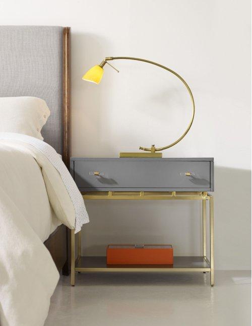 Bedroom Happily Gray One-Drawer Leg Nightstand