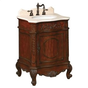 Belle Foret 26 in. W Petite Single Basin Vanity with Cream Marble Top and Backsplash in Dark Cherry