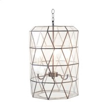 Large Faceted Glass Lantern With Candle Cluster Ul Approved for Three (3) 40w Bulbs. Includes 3' Antique Brass Chain and Canopy. Additional Chain May Be Purchased Upon Request.