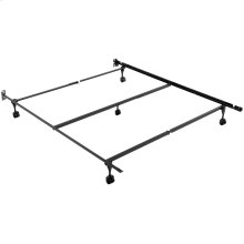 Sentry 78/60-5R Adjustable Bed Frame with Center Support Bar and (5) Rug Roller / Glide Legs, Full / Queen