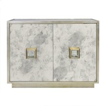 Antique Mirror 2 Door Cabinet With Champagne Silver Leafed DETAILING. ONE Interior Shelf.