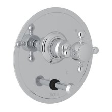 Polished Chrome Italian Bath Pressure Balance Trim With Diverter with Cross Handle