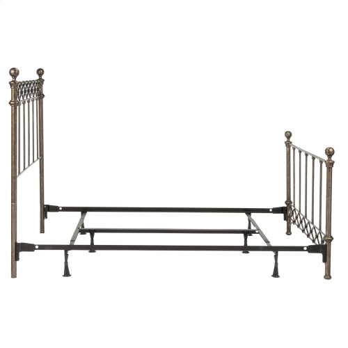 Argyle Complete Metal Bed and Steel Support Frame with Diamond Pattern Top Rail and Double Spindle Castings, Copper Chrome Finish, Queen
